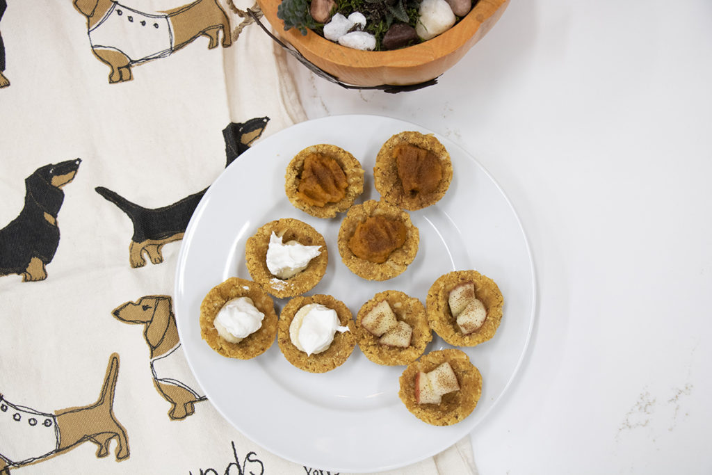 Above view of 9 doggie pies