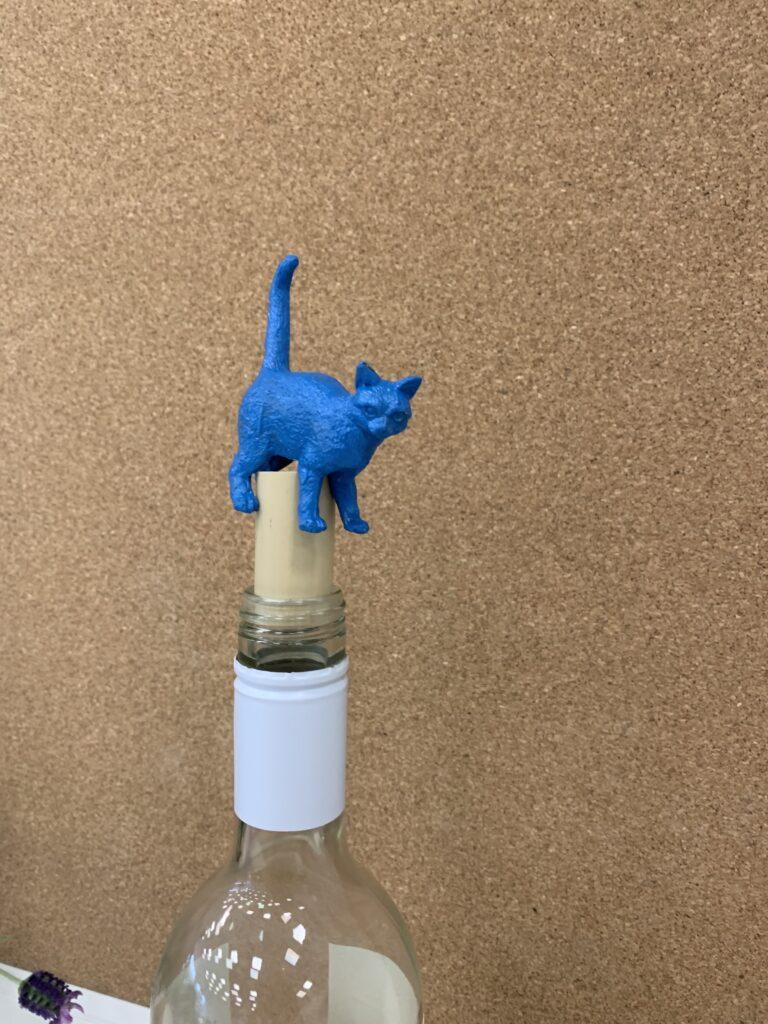 Cat on cork stopper in wine bottle DIY pet gift for Mother's Day