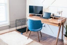 office room with dog crate in the corner